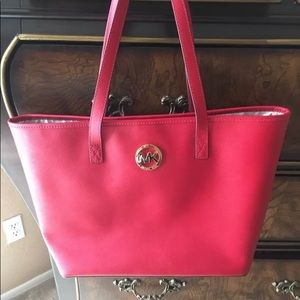 👜Michael Kors East West tote red handbag leather